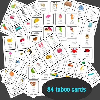 taboo pack, taboo game, cards, speaking, game, vocabulary, describing, young learners, teenagers, party game
