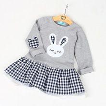 H16 Outono Vestido Da Menina Do Bebê Vestidos de Manga Longa Crianças Roupas Dos Desenhos Animados do Coelho Impressão Xadrez Novo alishoppbrasil