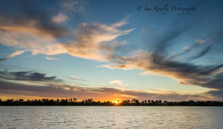 Setting sun on the River Murray Tailem Bend SA