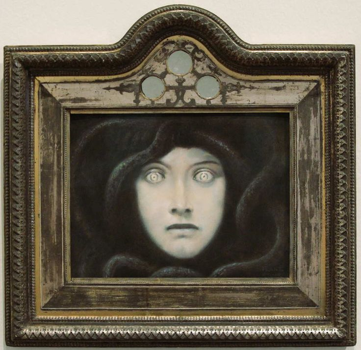 Franz von Stuck (German, 1863-1928)  / Head of Medusa, 1892. Pastel on paper, 26.5 x 32.5 cm
