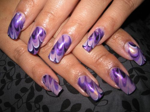 Teenage Glam: Water Marble Nail Art Design