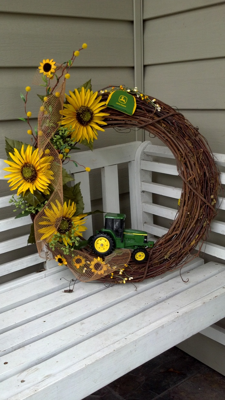 John Deere/Sunflower Wreath. This is perfect! Sunflowers and tractors, plus it would be cute on the front door for Fall.