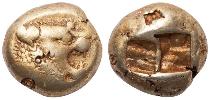 Ancient Coins - ALYATTES II OR CROESUS ELECTRUM TRITE ( 1/3 STATER ) - WITH EXTREMELY INTERESTING COUNTERMARKS INCLUDING THAT OF A MYTHICAL CREATURE - GOOD VF  LYDIA GREEK COIN (Inv. 11829)
