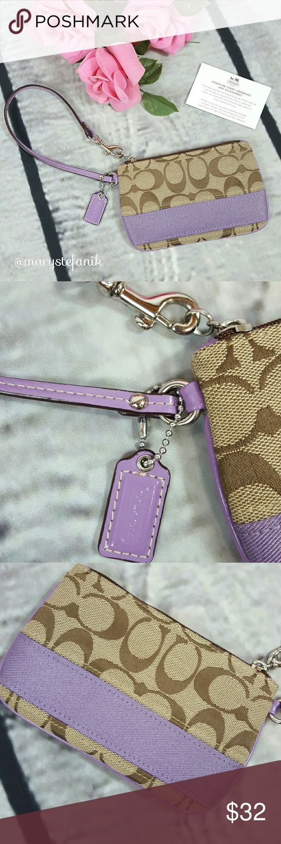 Coach Signature Purple Stripe Wristlet Coach Signature Purple Stripe Wristlet in excellent used condition. Like new and includes card.  Please let me know if you have any questions. Happy Poshing! Coach Bags Clutches & Wristlets