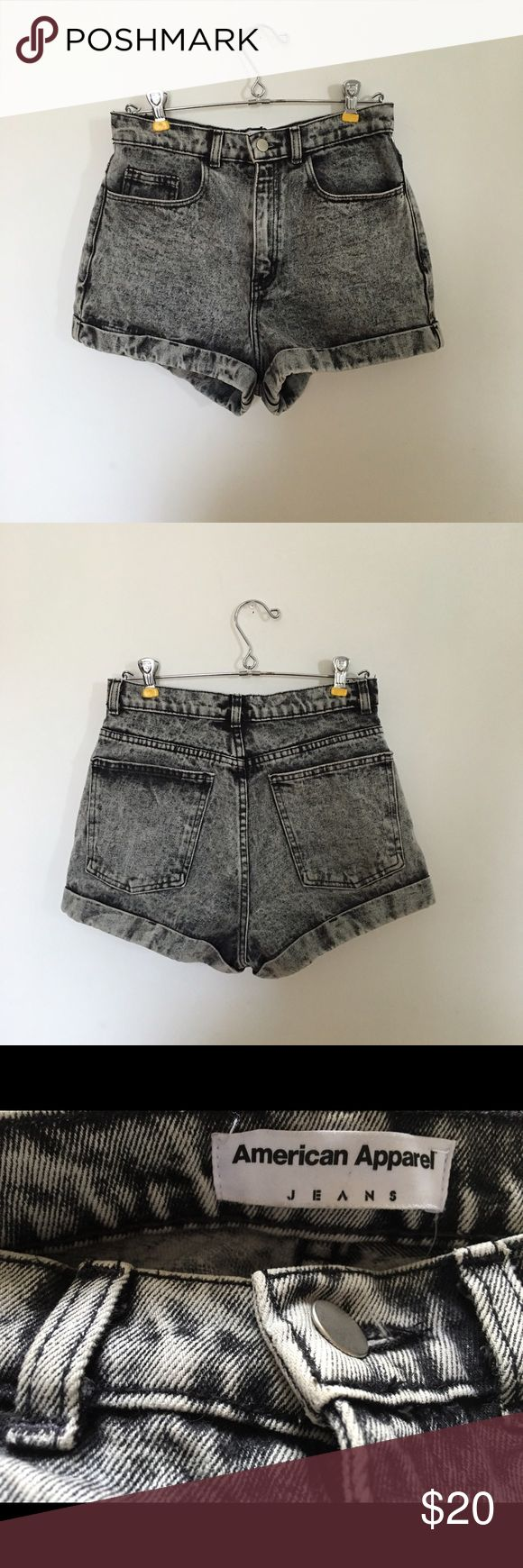 American Apparel Acid Wash Cuffed Shorts American Apparel high waisted black acid wash shorts! Size 28- fit more like a 26/27.  Denim has very little stretch and shorts are slightly cheeky. American Apparel Shorts Jean Shorts