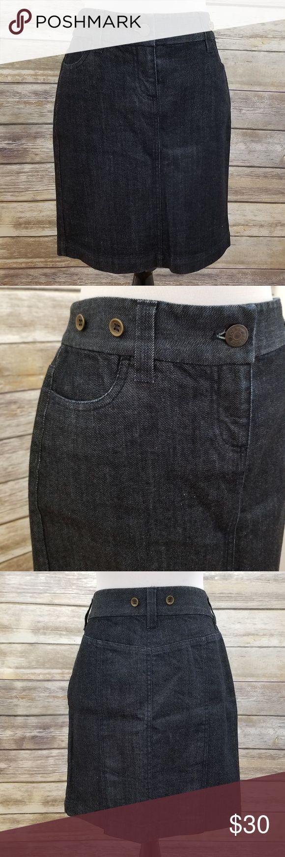 "J. Crew denim jean pencil skirt EUC, size 6P denim/jean skirt by J. Crew.  Has buttons on waist for suspenders!  Super adorable!    Measurements: (approximate flat lay) Length: 18 1/2"" J. Crew Skirts Pencil"