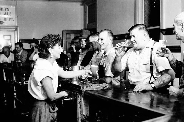 The men's room ... a Sydney pub in 1955 when a hotel's public bar was off-limits to women.