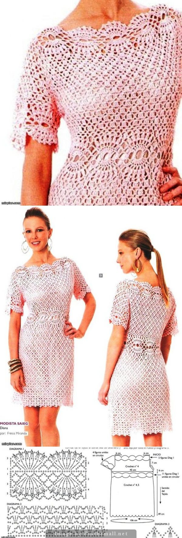 Crochet party dress PATTERN, crochet cocktail dress PDF pattern, detailed…