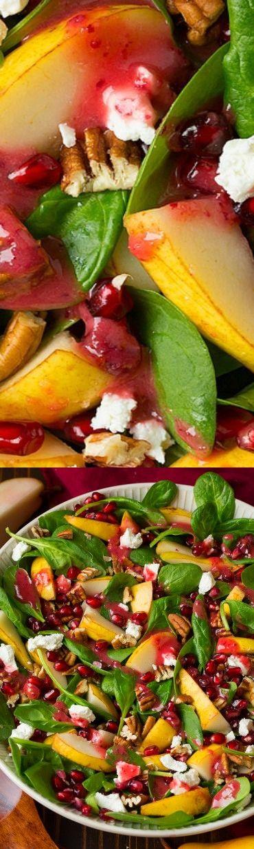 Pear Spinach Salad with Cranberry Orange Vinaigrette