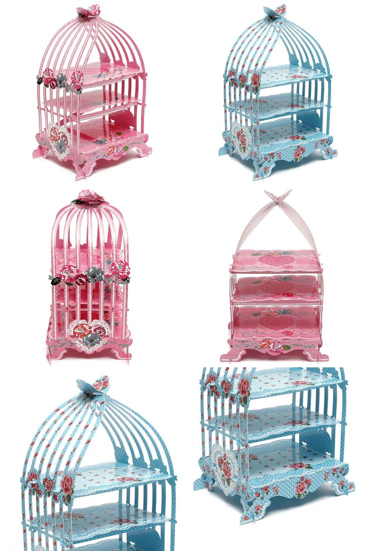 [Visit to Buy] Birdcage Cupcake Cardboard Cake Stand Vintage Wedding Tea Party Display Holder pink #Advertisement