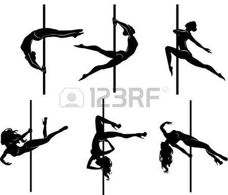 pole dancing: Vector illustration du pôle danseurs dans des poses différentes silhouettes