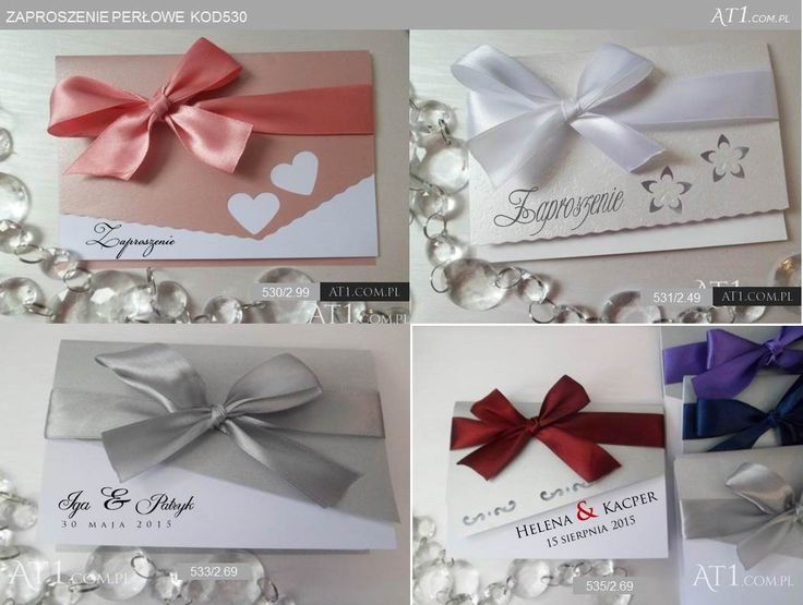 530_zaproszenia z perłową okładką (wybór koloru) i wstążką (wybór koloru) oraz wycięciami: