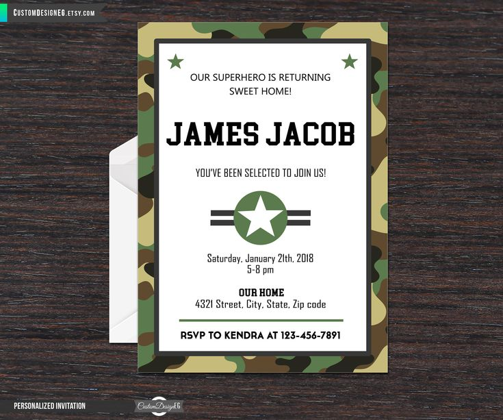 Military Welcome Home Party Invitation, Basic Training, Going Away Army, Patriotic Invite, Welcome Home US Amry