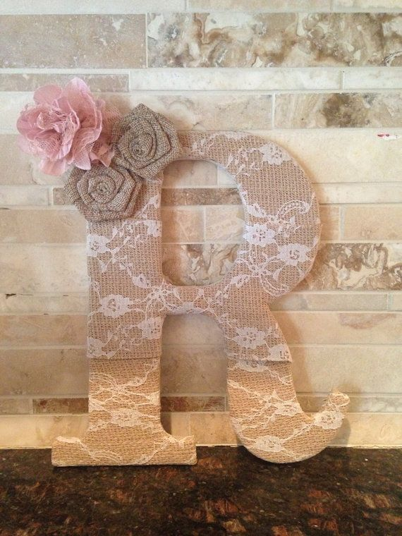 9.5 lace burlap letter with flowers  by TinyTotsNurseryDecor