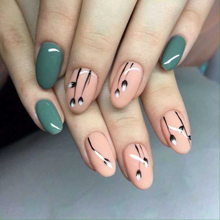 Black pattern nails, Drawings on nails, Green nail ideas, Ideas of beige nails, Medium nails, Oval nails, Spring nail art, Spring nail ideas