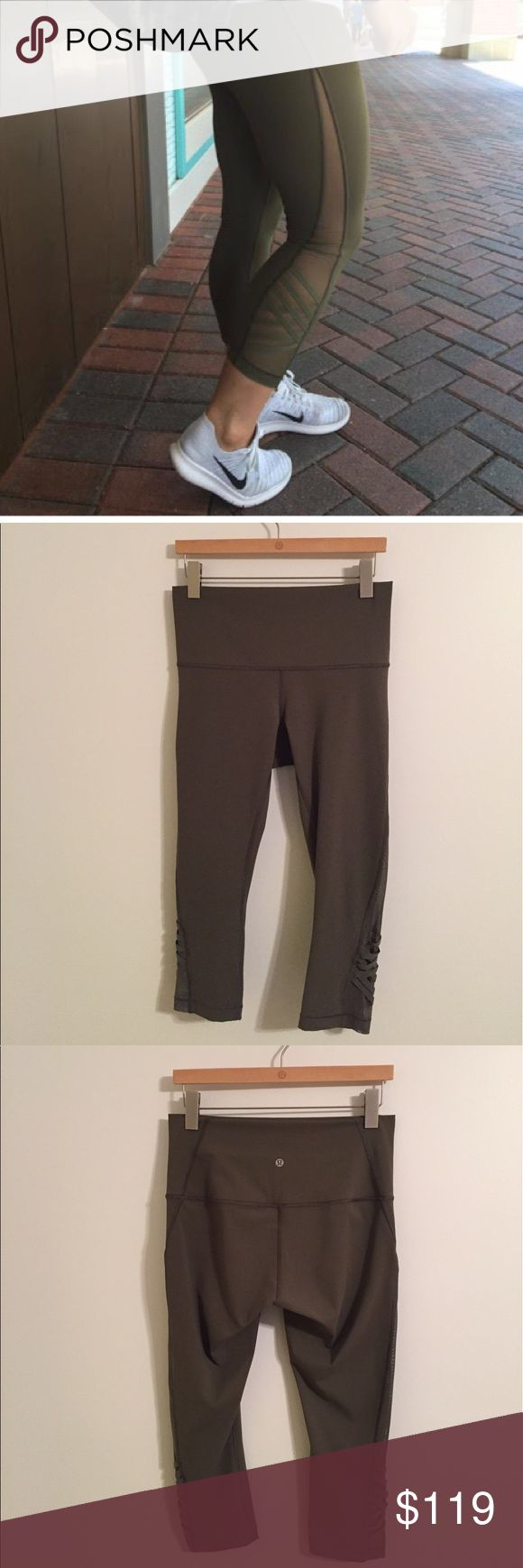 Lululemon Minimalist Crop Lululemon Minimalist Crop in Fatigue Green, size 10, excellent condition with no flaws(meaning no piling/stains/rips/seam damages/odors/holes/etc). Super cute!!! Rip tag still attached. Bundle to save 10% off ❤️ lululemon athletica Pants Capris