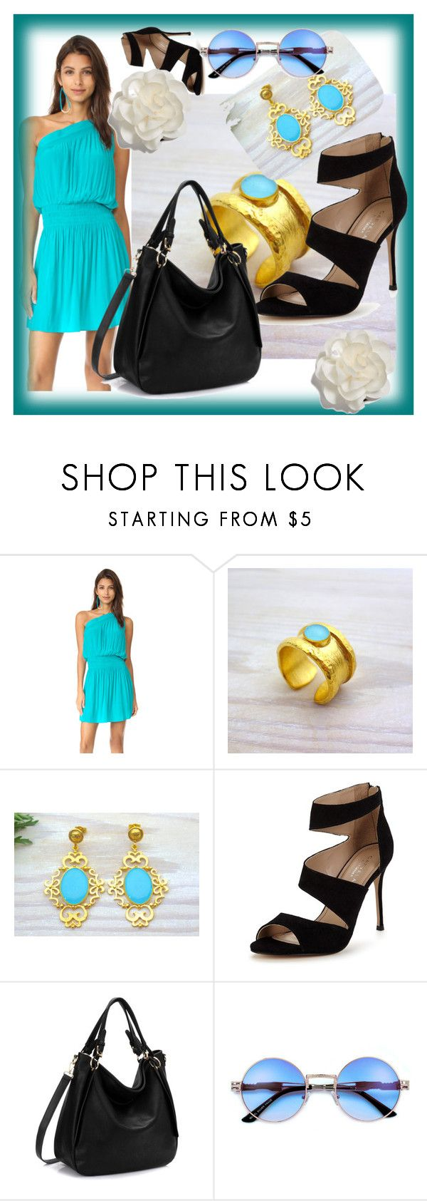 """Evangelos Jewellery."" by sabahetasaric ❤ liked on Polyvore featuring Ramy Brook, Carvela and Cara"