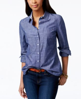 Tommy Hilfiger Roll-Tab Chambray Shirt, Only at Macy's $42.99 No matter where your busy day may take you, Tommy Hilfiger's chambray button-down shirt has a relaxed fit for all-day comfort.