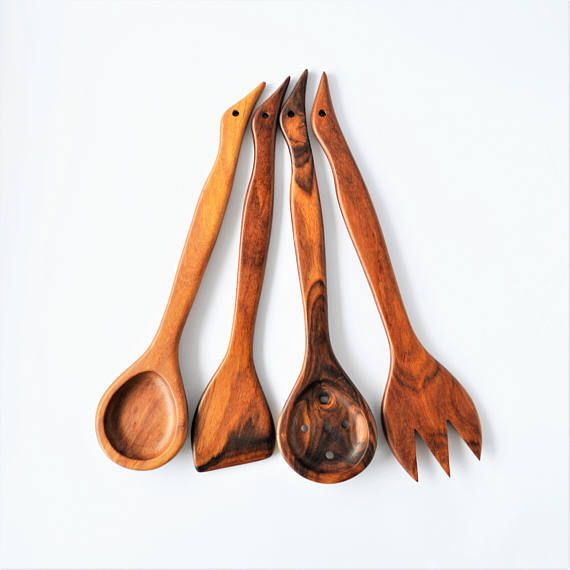 Wooden spoons set Decorative spoons Carved Mixing Spoon