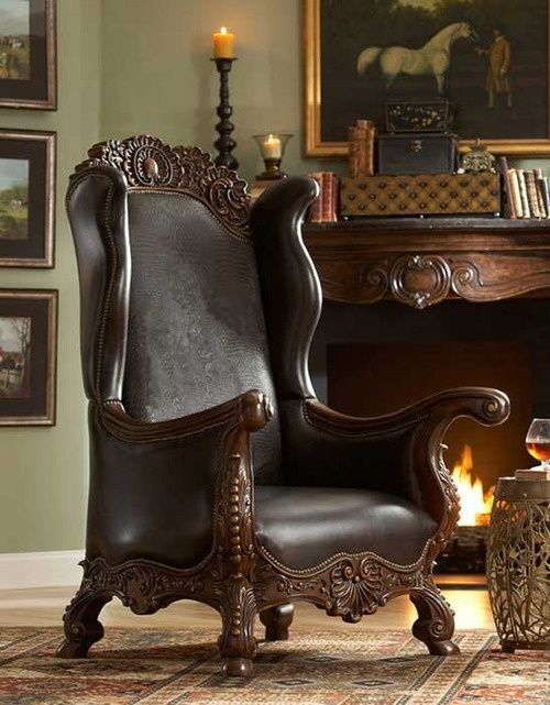 leather chair. Where can I find a pair of these? Awesome for the smoking room.