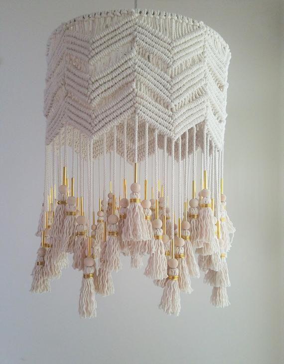 Gray Jersey Knit Macrame Pendant Lantern Shade