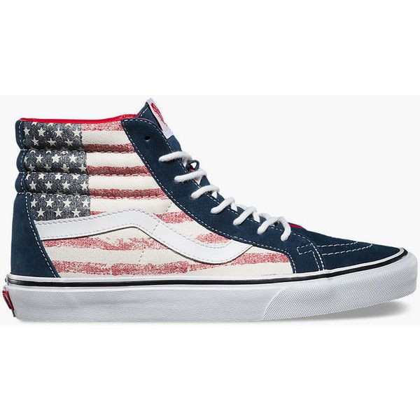 Vans Americana Sk8-Hi Reissue Womens Shoes ($70) ❤ liked on Polyvore featuring shoes, sneakers, vans trainers, lace up sneakers, vans high tops, hi top canvas sneakers and canvas shoes