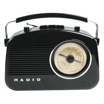 Radio AM/FM de diseño retro color negro - HAV-TR700BL  Radio de diseño retro en color negro. Tiene una rueda para sintonizar las emisoras con las frecuencias de grandes ciudades marcadas sobre ella. Puede elegir entre el modo AM o FM. Incorpora botones para el control de volumen y de tono. El botón de control de tono le permite ajustar la nitidez del sonido.
