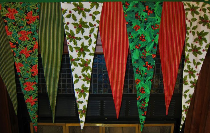 Christmas Fireplace Mantel Scarf.  Christmas Mantel Banner. Custom Christmas Mantel Scarf. Red, Green & White Mantel Scarf Holly and Stripes by shesewsfine2 on Etsy