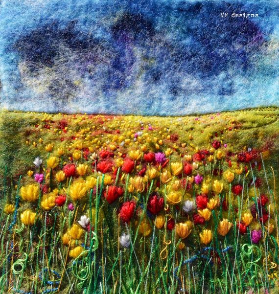 designVF Handmade original vibrant tulip meadow wet felt art framed picture with textural hand embroidery. One of a kind