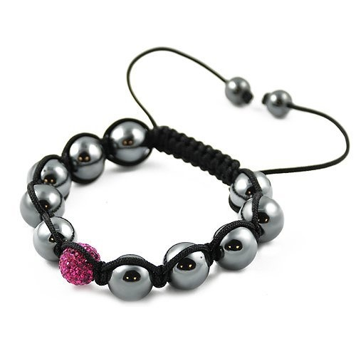 Shamballa Hematite Black Cord Adjustable Bracelet with One Rose CZ Crystal Bead Contempo Culture