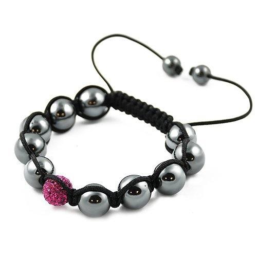 Shamballa Hematite Black Cord Adjustable Bracelet with One Rose CZ Crystal Bead Contempo Culture