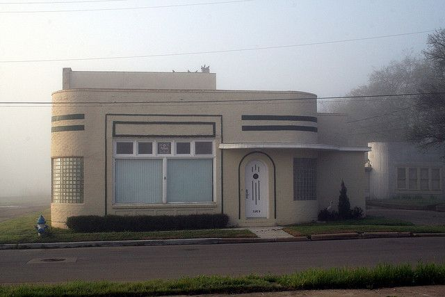 Art Deco house in the fog by Exquisitely Bored in Nacogdoches, via Flickr