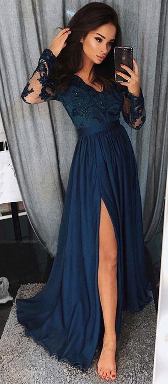 Charming Long Sleeves V Neck Lace Top A Line Split Long Prom Dresses #navyblue #split #longsleeves #vneck #prom #okdresses