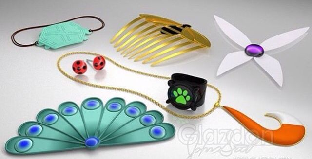 All the miraculouses •Ladybug's Miraculous •Chat/Cat Noir's Miraculous •Volpina/Fox Miraculous •Peacock Miraculous •Turtle Miraculous •Hawkmoth's Miraculous •Bee/Queen Bee Miraculous