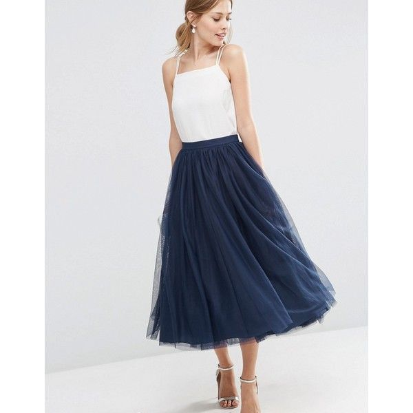 ASOS WEDDING Tulle Prom Skirt with Multi Layers ($80) ❤ liked on Polyvore featuring skirts, navy, high-waisted skirts, high rise skirts, midi skirt, asos skirts and high waist skirt
