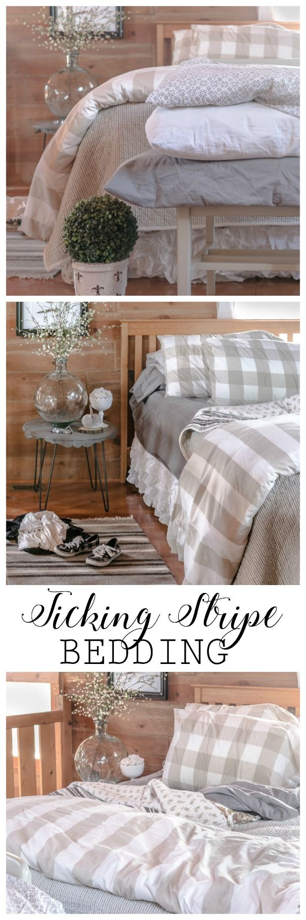 25 best ideas about ticking stripe on pinterest striped bedding farmhouse bed pillows and. Black Bedroom Furniture Sets. Home Design Ideas