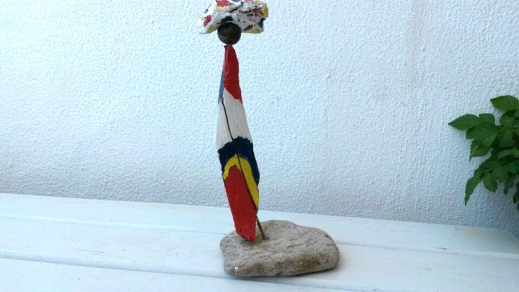 Driftwood Art,  Driftwood Sculpture,  Figurative Sculpture, Colorful Sculpture, Driftwood Figure, Driftwood Table Art,  Colorful Driftwood. by WillyaCollection on Etsy