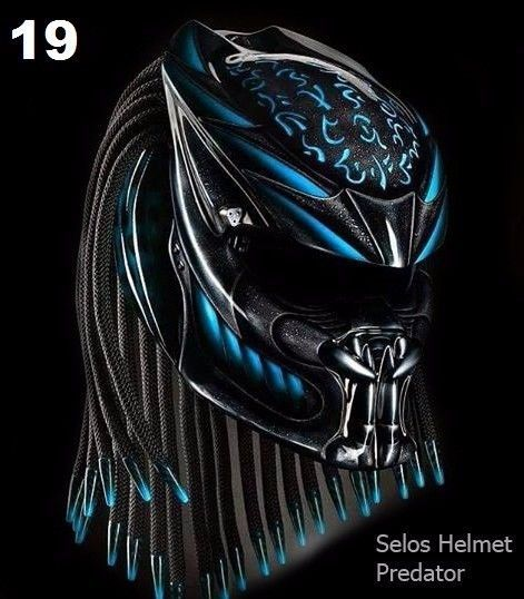 BLUE BLACK PREDATOR HELMET  DOT APPROVED #CELLOS
