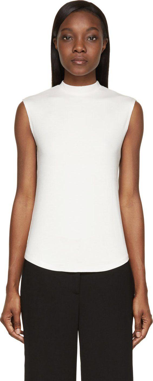 Nomia: Cream Rib Knit Jersey Muscle Shirt | SSENSE