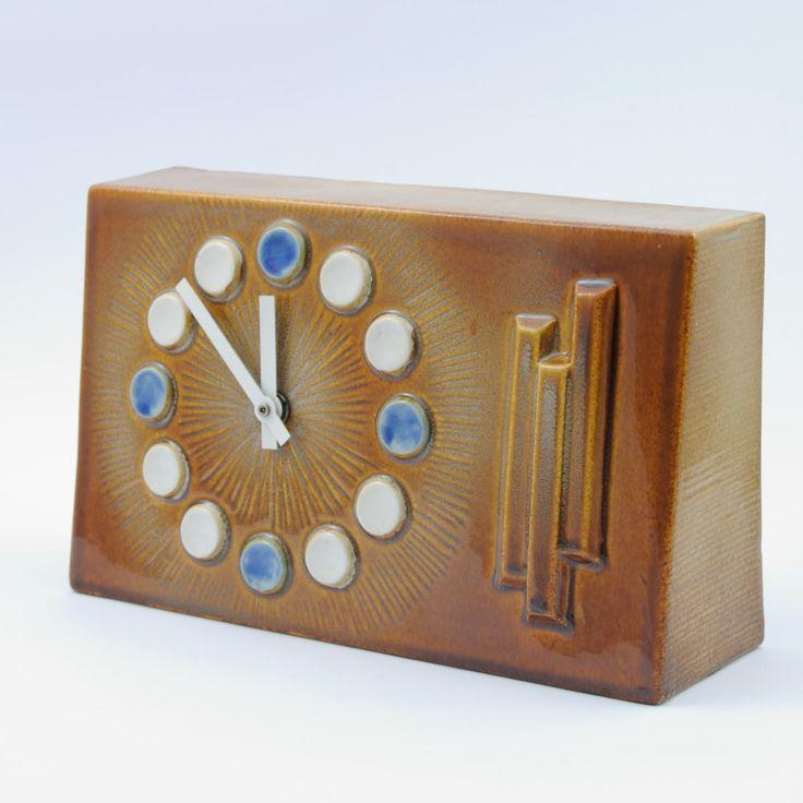 Zegar ceramiczny, Czechosłowacja, lata 70.   Ceramic clock, Czechoslovakia, 70s   buy on Patyna.pl #Ceramics #clock #70s #1970s #Czechoslovakia #mechanical #retro #vintage #vintagefinds #decoration #home #Inspiration #Tresor