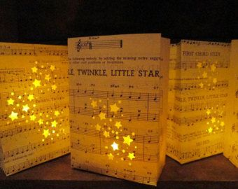 10 Twinkle Twinkle Little Star Luminarias, Star Wedding, Star Party, Completely Hand Fashioned from Vintage Sheet Music, Star Decor