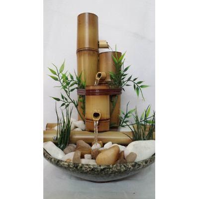 Fonte Água Cascata Bambu Feng Shui Cerâmica E Pedras 3 Bambu - R$ 135,00 em Mercado Livre
