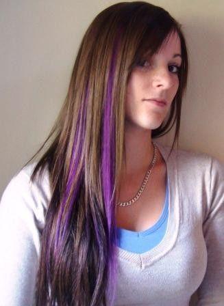Subtle purple streaks in dark brown hair. NEED.