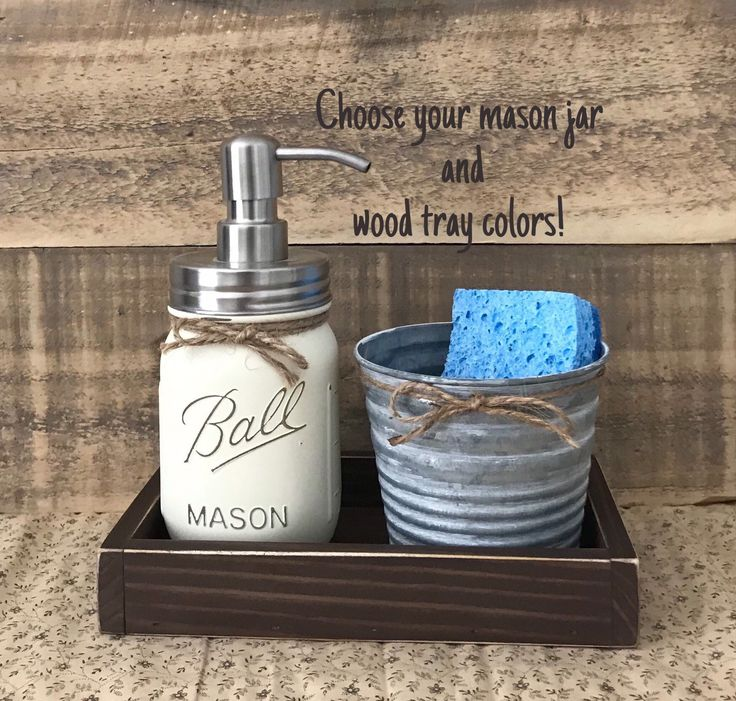 Mason Jar Soap Dispenser, Sponge Holder, Rustic Kitchen Decor, Kitchen Soap Dispenser, Modern Farmhouse Decor Kitchen, Galvanized Decor