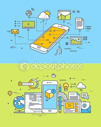 Набор понятий тонкая линия плоский дизайн сайта для мобильных устройств и app дизайн и развития — Векторная картинка #79130104