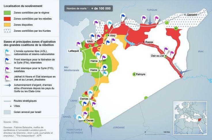 Une rébellion divisée face à un régime qui tient bon (octobre 2013) : quatre grandes coalitions dominent la rébellion + désunion sur le terrain  (Marie-Sophie)