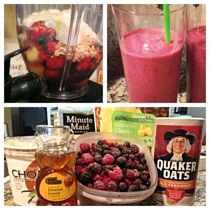 Best Breakfast Smoothie! Your choice of fruit (frozen works best), 2tbs of honey, 1 cup of oats, 2 cups of your favorite juice (I use pomegranate), 1 1/2 cups of Greek yogurt. Full of vitamins, antioxidants, and protein! It's a great fast and easy breakfast that keeps you full till lunch! Blend & Enjoy :)