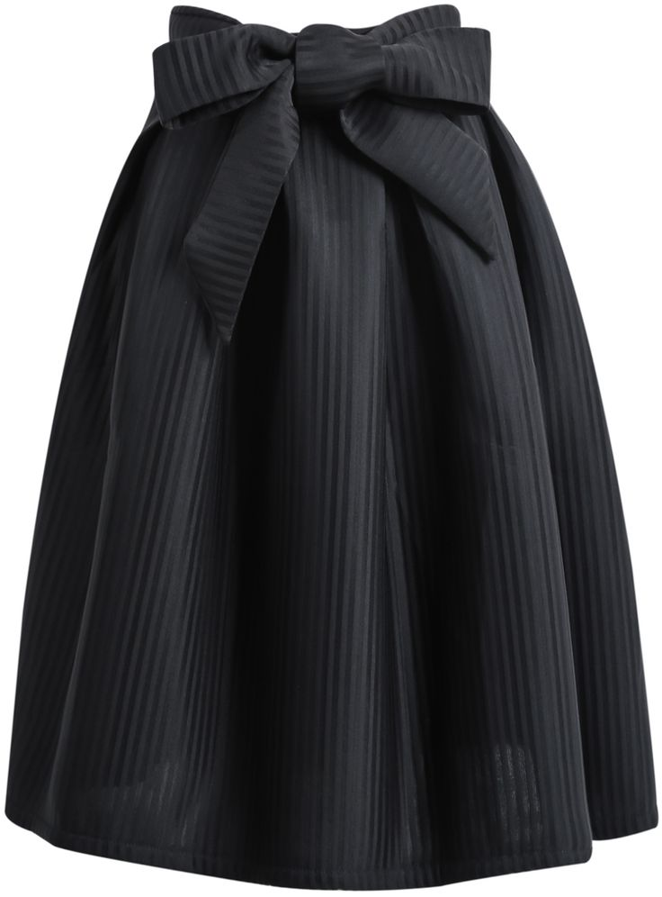 Shop Black Bow Vertical Stripe Skirt online. Sheinside offers Black Bow Vertical Stripe Skirt & more to fit your fashionable needs. Free Shipping Worldwide!