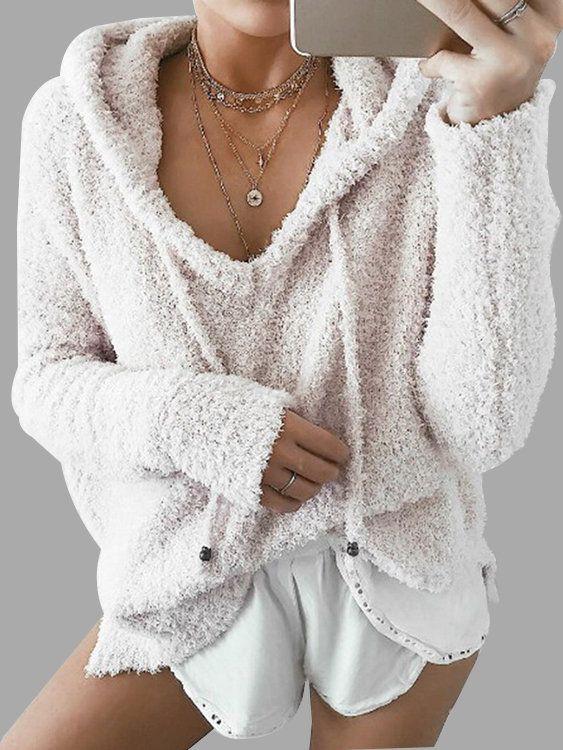 Beige Mohair Pullover Drawstring Hooded Sweatshirt