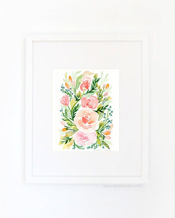 Watercolor Blush Roses Print | by Natalie Malan on Easy | www.nataliemalan.com